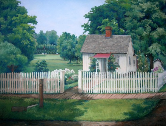 Pastel of a white frame house, white picket fence, and green trees.