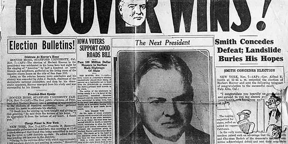 The front page of a newspaper declares Herbert Hoover's election as president.