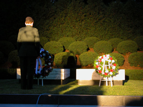 Memorial wreaths are laid at the graves of President and Mrs. Hoover.