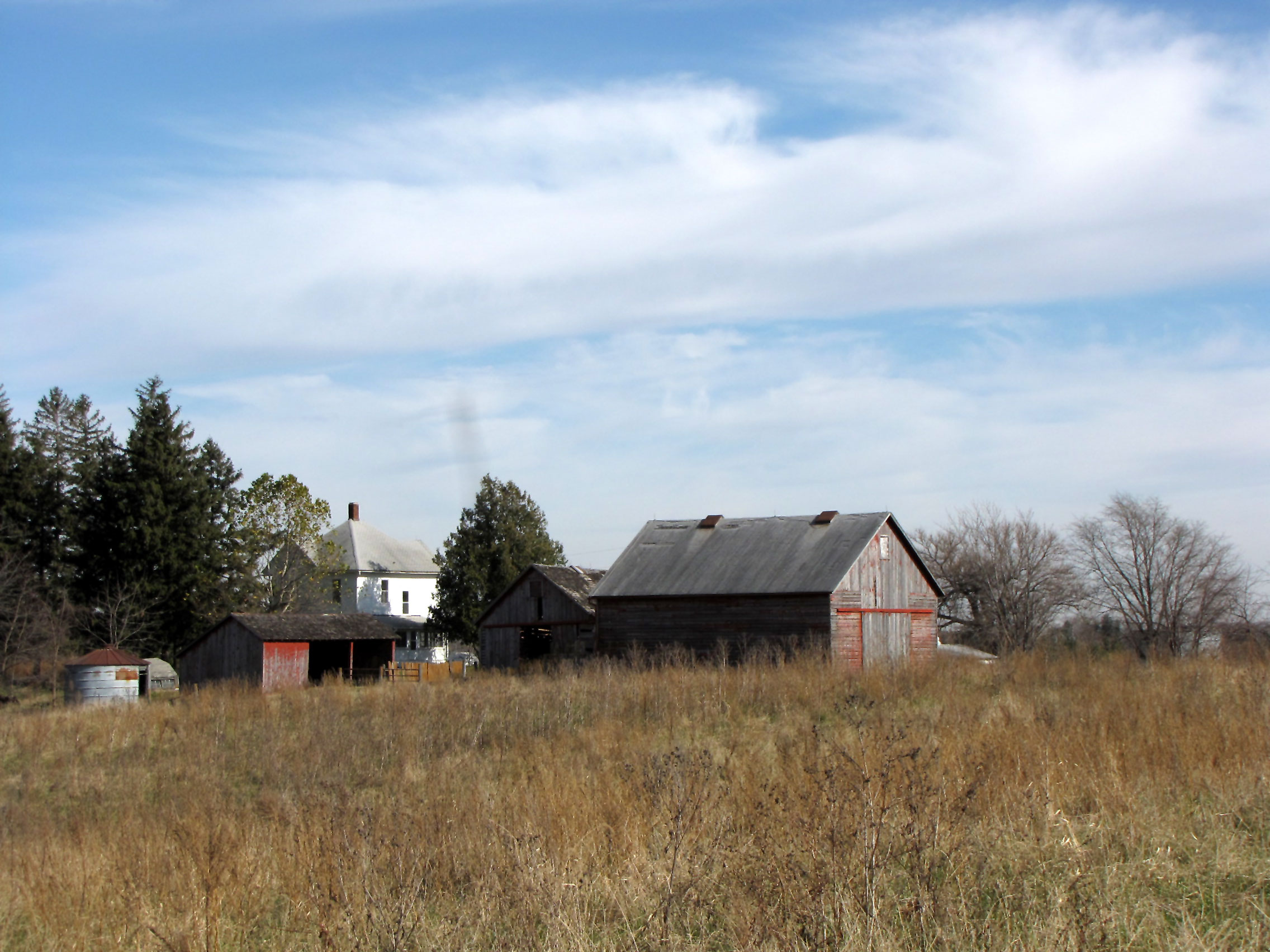 A farmstead of old buildings set in a grassland.
