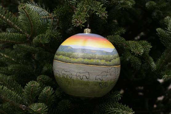 A spherical ornament painted with a scene of the Mississippi River overlaid with the outlines of the Marching Bear effigy mounds hangs from the bough of a spruce tree.