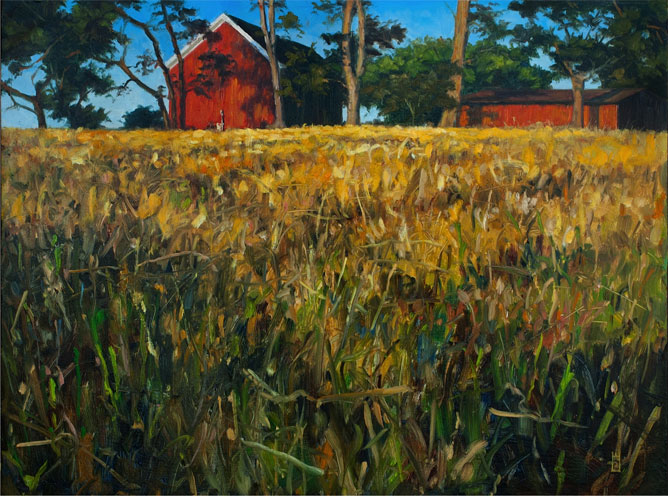 Painting of red farm buildings on the edge of a golden-grassed prairie.