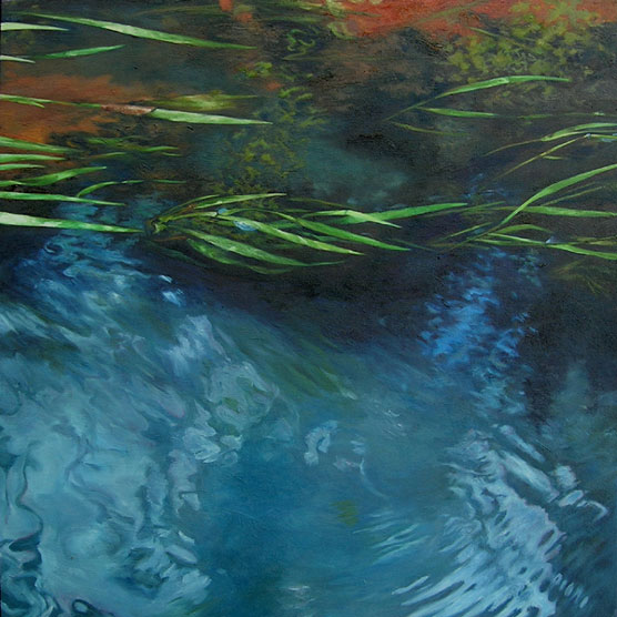 Oil painting of grasses in a flowing stream.
