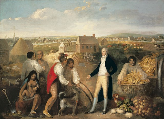 painting of white man in formal attire with Native American people around him; woman sitting breastfeeding child, two men conversing, one with basket of corn, and two others conversing with white man; houses in the background