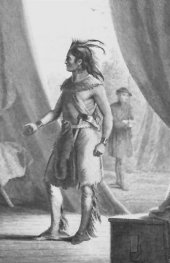 engraving of man in native american garb with right hand outstretched looking to shake hands