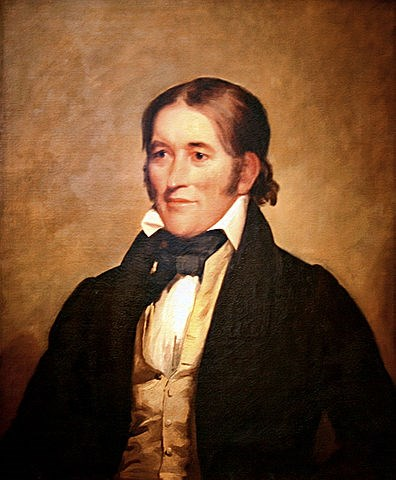 painting of man, stomach up, wearing black jacket and gold vest, white collared shirt, and facing left