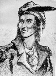sketch of man in military jacket, medallion around neck, hat with feather, seen from chest up looking to left