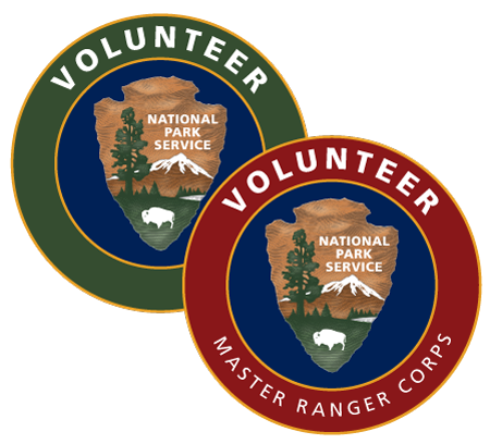 The NPS volunteer logos with arrowheads in the center of the circles