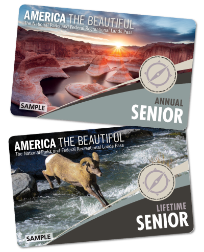 Pass cards with landscape photo and picture of bighorn sheep