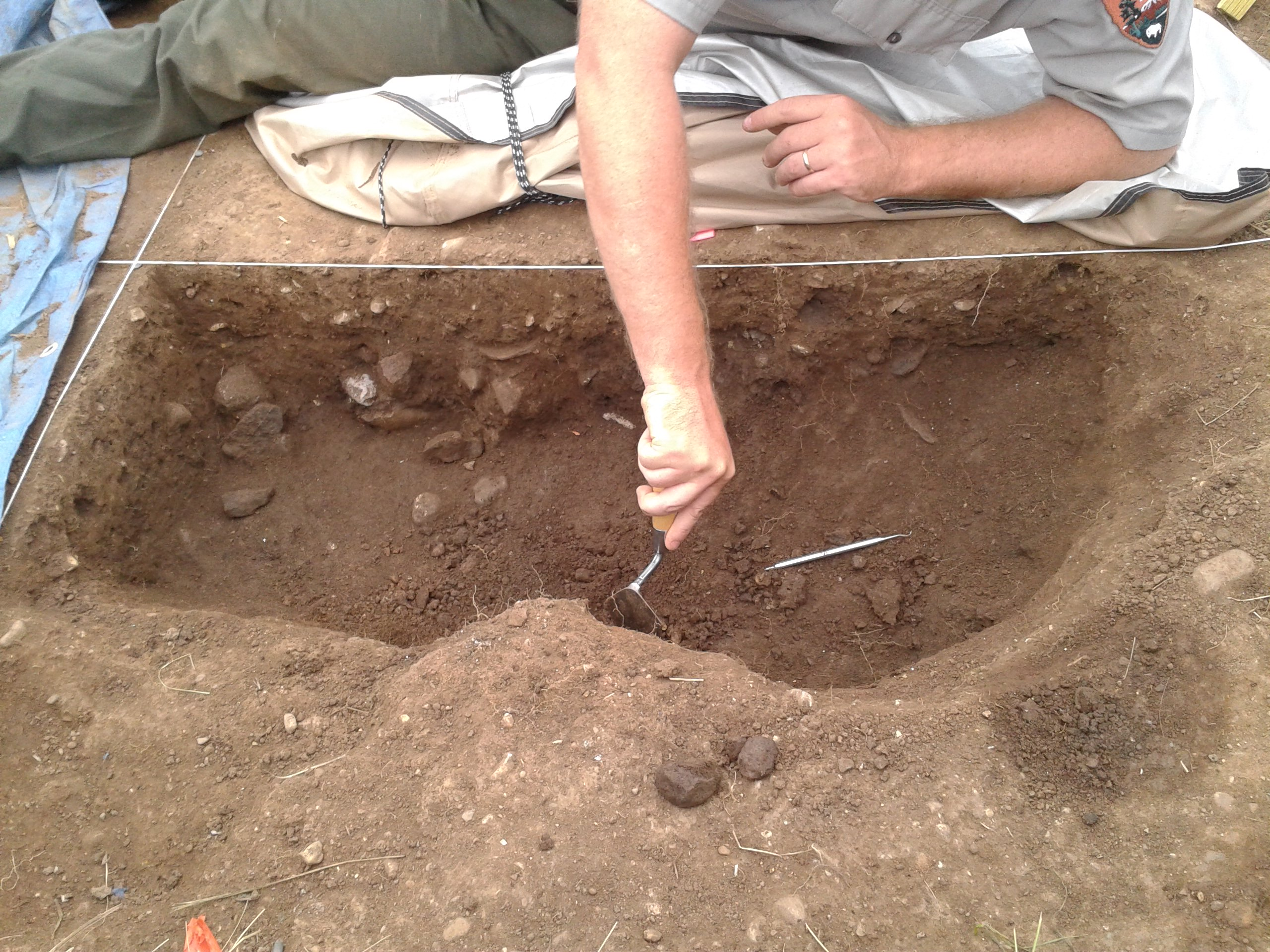 Pit feature excavation
