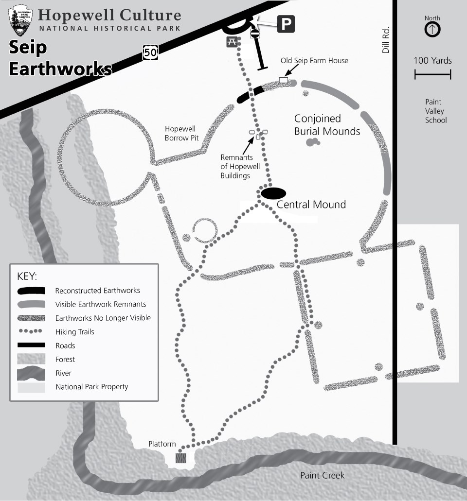 A map showing the details of the grounds at Seip Earthworks