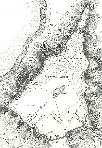 Black and white map of Spruce Hill in 1846