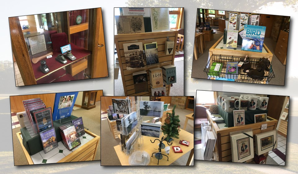 Various bookstore products on display in the visitor center