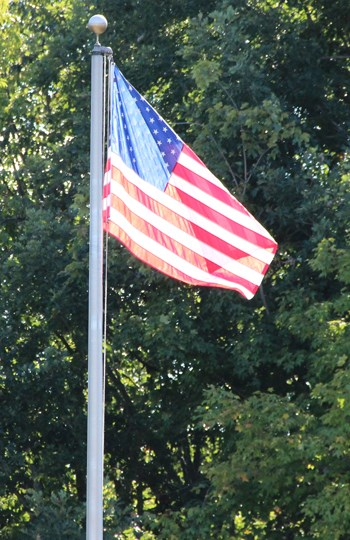 An American flag waves on a flagpole in front of trees