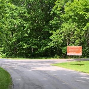 A paved road with green grass on either side and an entrance sign with directions