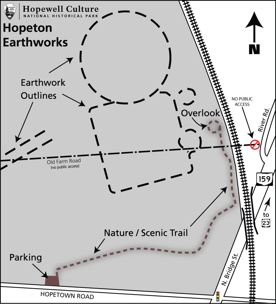 A map showing the details of the grounds at Hopeton Earthworks