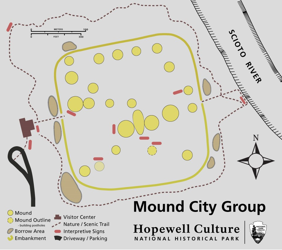 A map showing the details of the grounds at Mound City Group