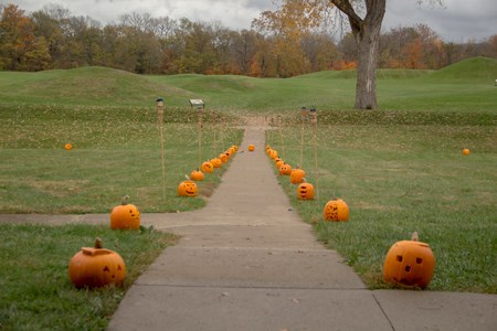 Carved pumpkins line the sidewalk leading to mounds