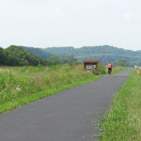 Bike trail in front of Hopewell Mound Group.