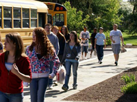 School Bus Arrives at Henry A. Wallace Visitor and Education Center