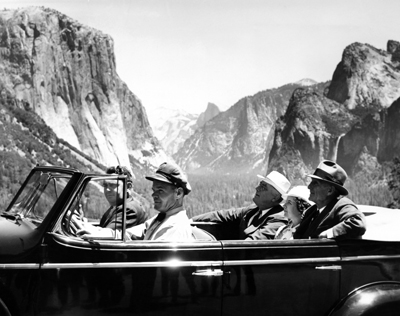 FDR with Senator and Mrs. McAdoo of California touring Yosemite, 1930