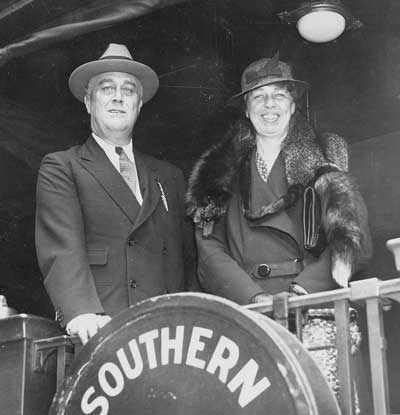 FDR and Eleanor Roosevelt at the train station in Warm Springs, GA.
