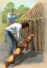 Illustration of colliers building a charcoal mound.