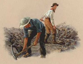 Artist conception of iron miners digging ore at a mine.