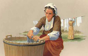 Maid washing clothes for the ironmaster's house.