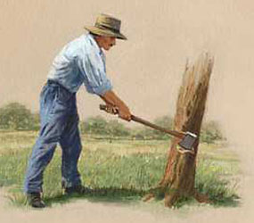 Illustration of a wood chopper cutting down a tree.