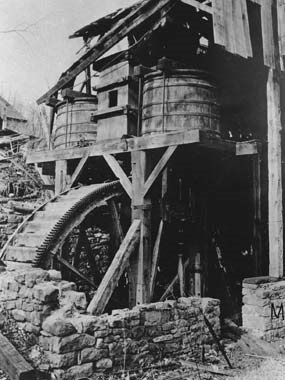 Photograph of Hopewell's 1879 water wheel and blast machinery.