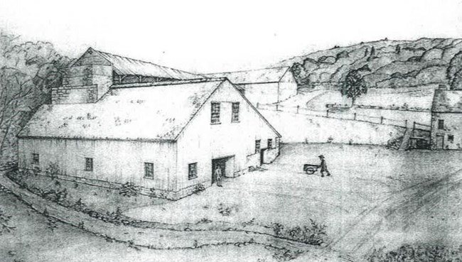 Conjectural Sketch of Hopewell Furnace as it may have looked about 1800.