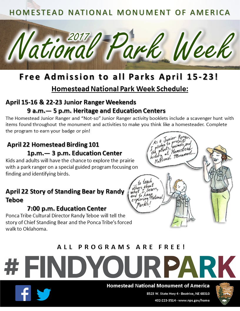 A hand-out Flyer depicting the events and schedule for National Park Week at Homestead National Monument.