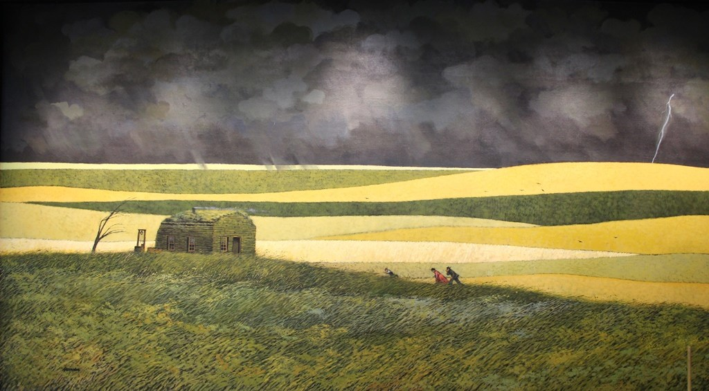 Three people walking toward a farm house in a storm