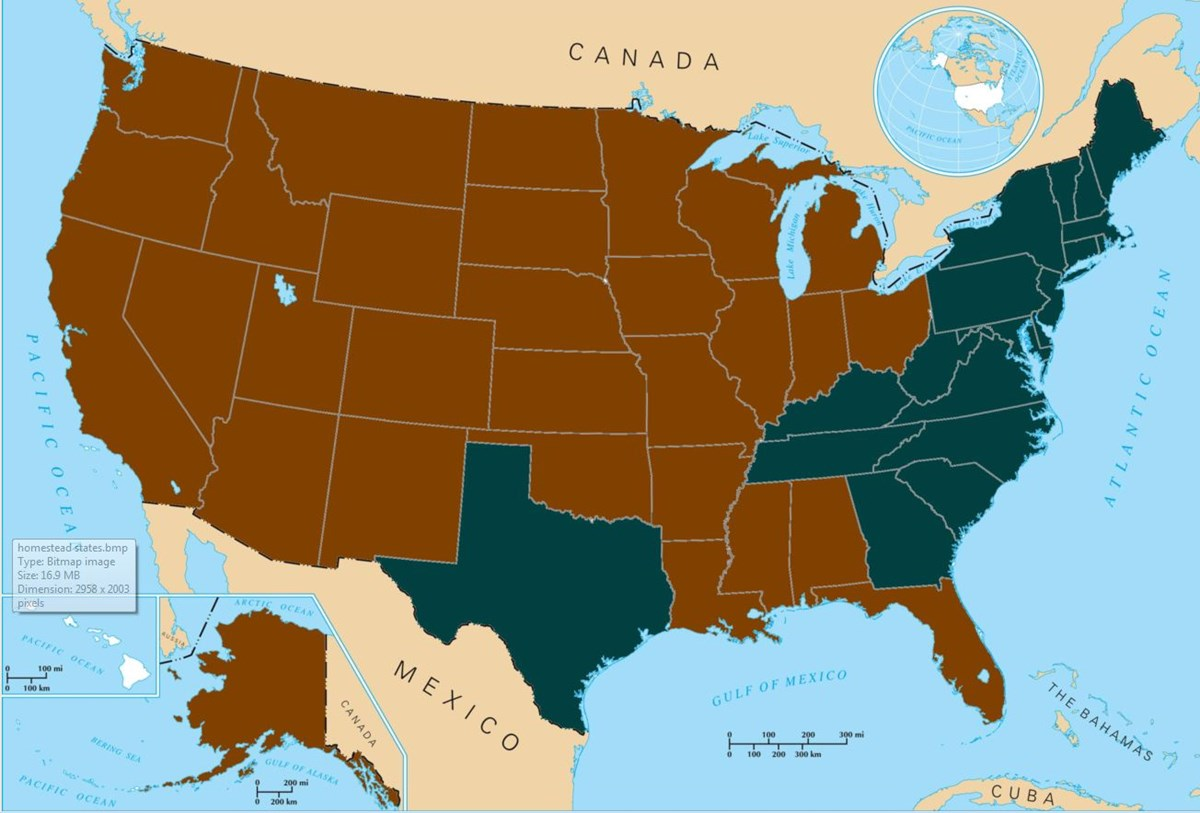 Map of Homesteading States