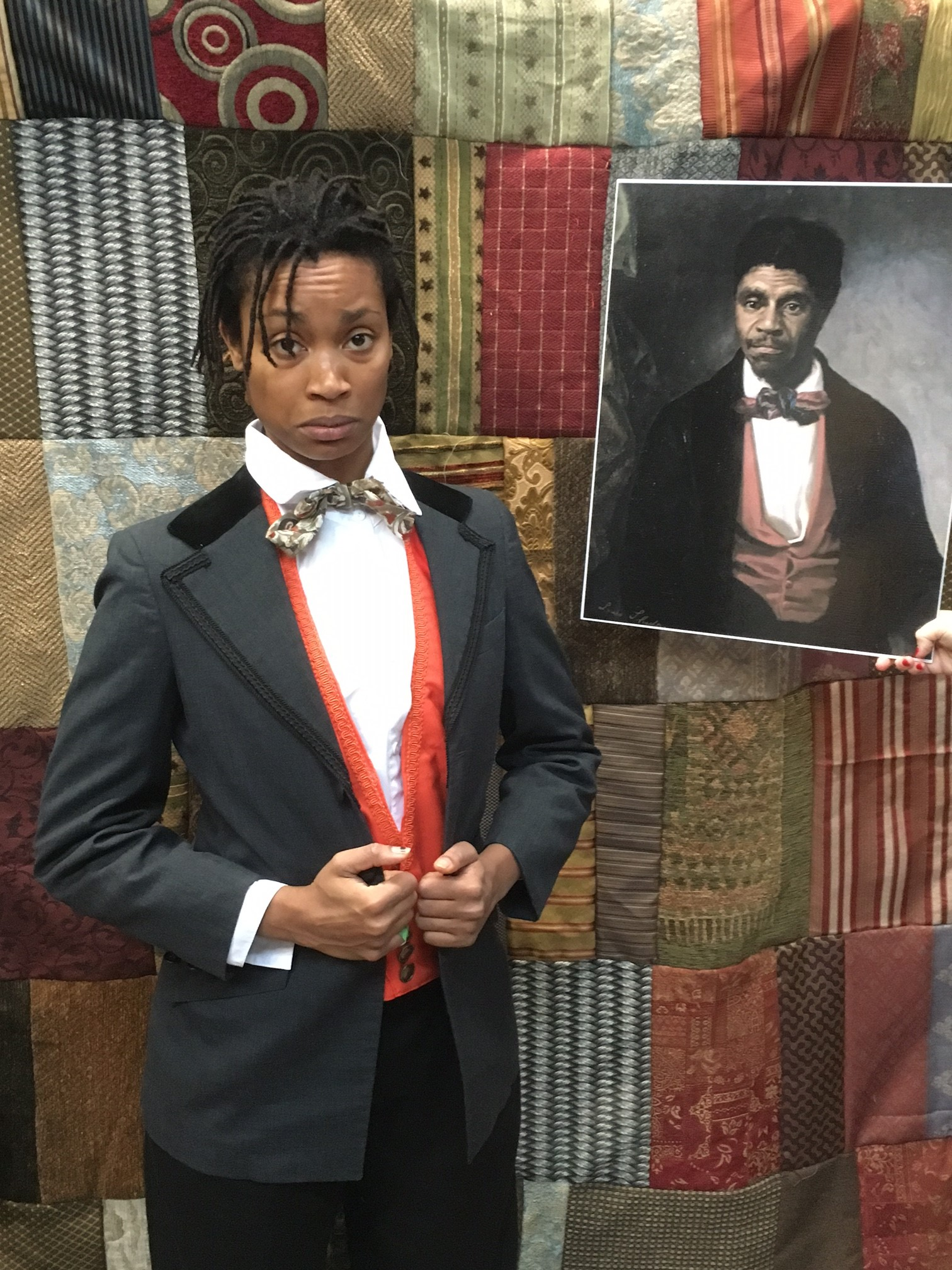 Actress wearing historic costume portrays Dred Scott