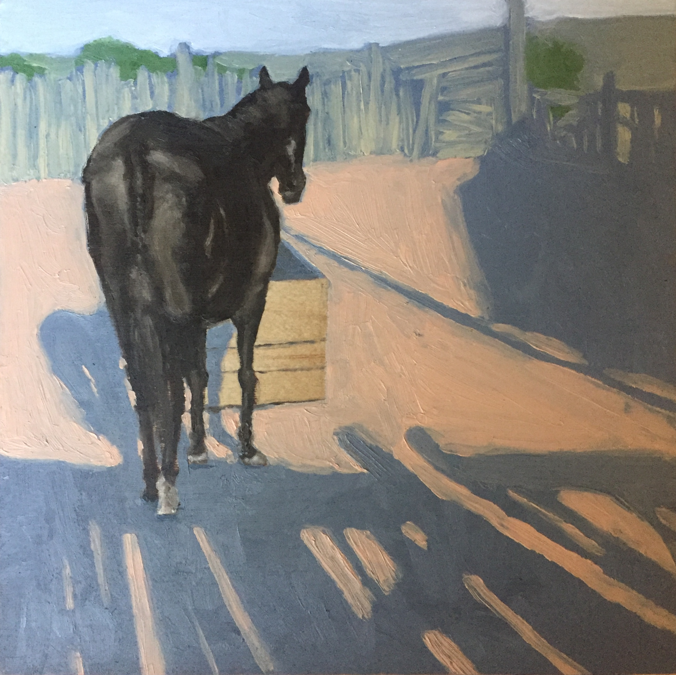 Painting of a black horse with it's back to the viewer standing in front of a water trough.