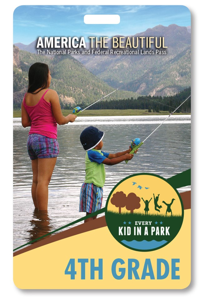 Front of 4th Grade Pass. Photo shows a woman with her back to the camera fishing with a young boy.