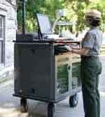 U. S. Park Ranger transmits from portable Distance Learning Station