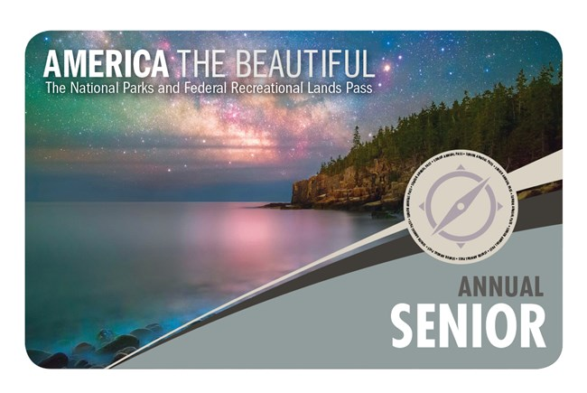 Front of Senior Annual Pass. Photo features a starry sky over a lake with a tree-covered island on the right.