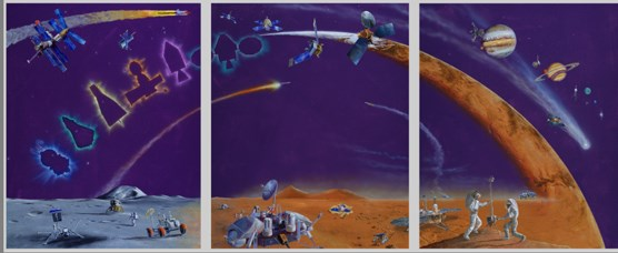 Paintings from Michael Carroll's exhibit' From Longships to Spaceships:  A Thousand Years of Exploration
