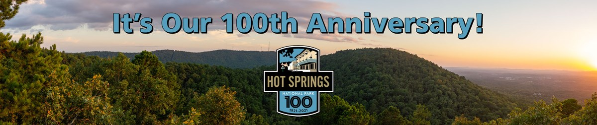"Rolling hills at sunset with the words ""Its Our 100th Anniversary"" and the Centennial logo in art-deco style with an outline of a bathhouse on it."