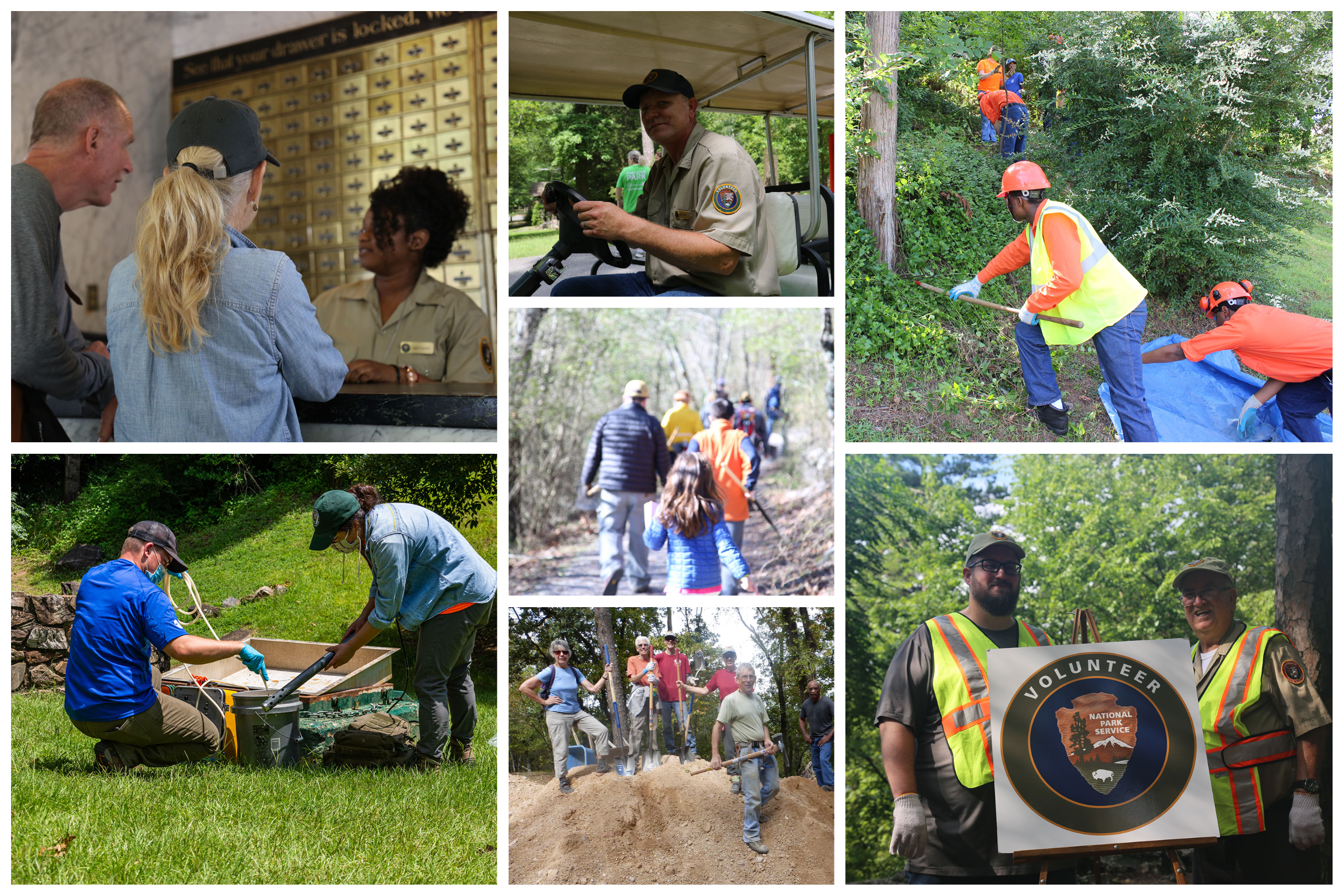 7 images of people volunteering in the park; they are conducting water quality testing, pulling ivy, fixing trails, hiking, and offering visitor services at the desk.