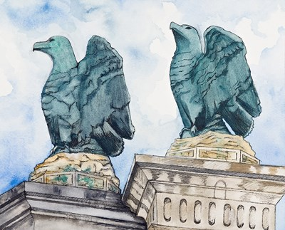 Painting of the bronze eagles, side by side, and the tops of the limestone pylons on which they are mounted, at the former formal entrance to the park on Bathhouse Row. The eagles have a blue patina; there is a partly cloudy sky for the background.