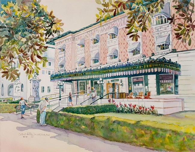 Watercolor painting of the Fordyce Bathhouse.