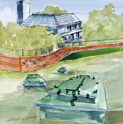 Watercolor painting of a green hillside with three green boxes sticking up out of the grass (spring boxes) in the foreground, a red brick patch with a black fence on the outside edge and a building top rising out of the hillside, white with a gray roof