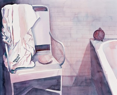 Water color paining of corner of bath stall, showing white chair on left with Fordyce bath towel haning on on it and on right, the edge of a tub with a clock sitting on the edge