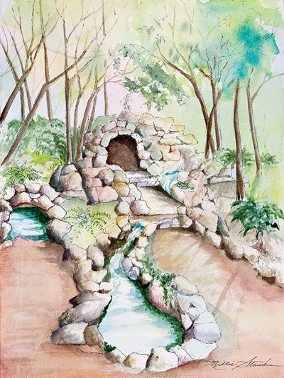watercolor picture of open display springs at Hot Springs National Park. Central is a cave-looking structure, formed by rock on the surface. Light blue water flows into a lower pool. Also flowing into the lower pool is water from a spring on the left. Around the pools is a rose colored surface. Surrounding the springs is green with small brown tree stems and pastel pink and orange