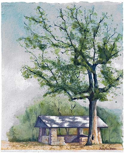 water color painting of rock shelter house at North Mountain-Hot Springs Mountain saddle. Tree to right of shelter house has green leaves and there is green behind the building with a mostly gray sky filling the rest of the space.