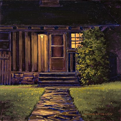 painting of stone walkway and cabin door at night. Yellow porch light is shining and window to right of door has yellow light coming through. Green grass on either side of walk has yellow highlight specs and there's a tall green shrub on the right side of the entrance.